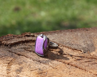 violet purple howlite stone ring, statement ring, Engagement ring, coctail ring, adjustable ring