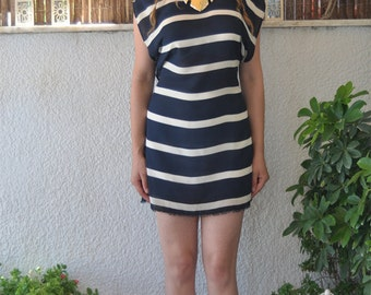 CYCLADES navy striped dress/Asymmetric sleeves boat neckline dress/White and Blue striped mini dress/Greek inspired dress