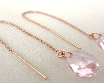 Rosaline Swarovski Crystal Rose Gold-Filled Threader Earrings - Handmade Jewelry - Bridesmaid Earrings - Minimalist Jewelry - Gold Threaders