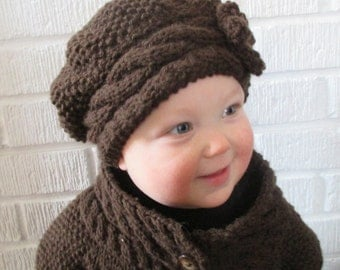 Slouch Hat Pattern - KNITTING PATTERN PDF Slouch Hat - Baby Knit hat - Toddle...