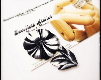 Candy Striped Petunia Magnetic Pin - Wearable Black and White Floral Illustration Brooch