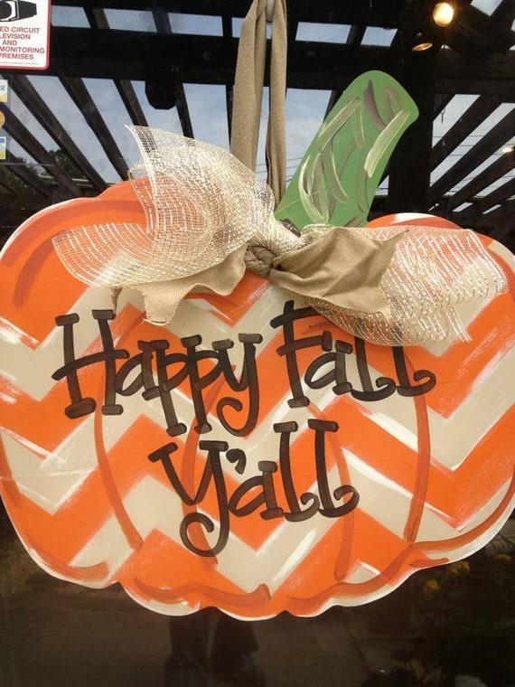 Items Similar To Pumpkin Door Hanger Happy Fall Y All
