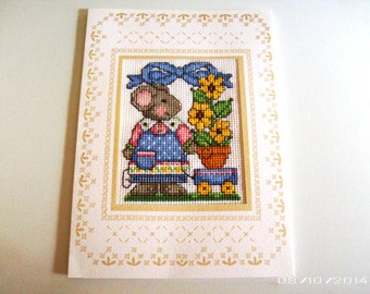 Mouse and Sunflower Cross-Stitch Greeting Card - Hand Stitched Greeting Card