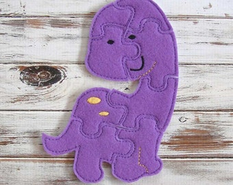 Purple Dinosaur Puzzle  - Kids Puzzle - Felt Toy - Toddler - Shape Puzzle - Educational Toy - Learning - Travel