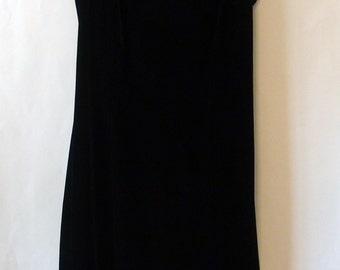 Vintage Black Velvet Sleeveless Mini Dress M/L