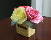 Mixed Color Coffee Filter Roses in Tea Tin