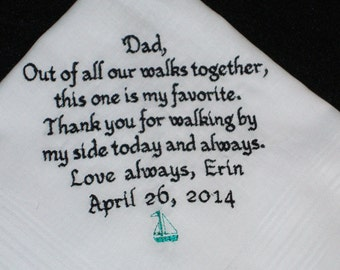 Personalized Father of the Bride Handkerchief, Favorite Walk Wedding Day Keepsake - Thread Born Memories