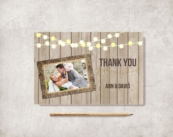 Wedding Thank you Card, Rustic Thank You Card Printable, Photo Thank you Card, Digital File, 4x6 - Modern Thank You Card