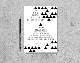 Geometric Birthday Invitation Printable, Geometric Baby Shower Invite, Modern Black & White Birthday Invite, Triangle Birthday Invitation