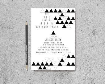 Geometric Birthday Invitation Printable, Geometric Baby Shower Invite, Modern Black & White Birthday Invite, Triangle Birthday Invitation
