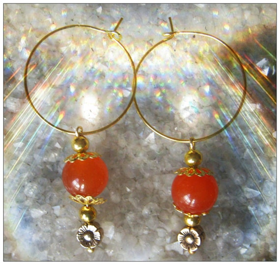 Handmade Gold Earrings with Orange Topaz & Flowers by IreneDesign2011