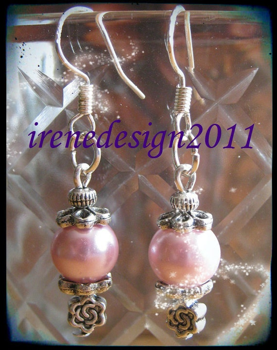 Handmade Silver Earrings with Pink Pearls & Roses by IreneDesign2011