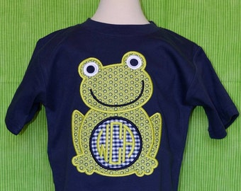 Personalized Frog Initials Monogram Applique Shirt or Onesie Boy or Girl