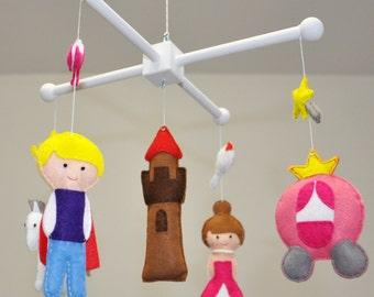 Crib mobile, Baby mobile - Nursery decoration - Cinderella - Princess and her prince - Felt horse, castle, pumpkin cart, Pink girl nursery