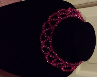 Hot Pink Crystal Beaded Necklace