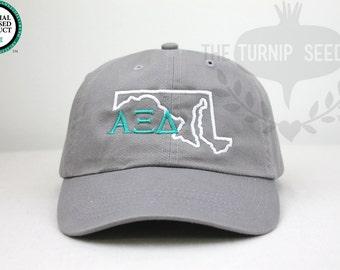 Alpha Xi Delta Sorority Baseball Cap - U.S. State Custom Hat and Embroidery.