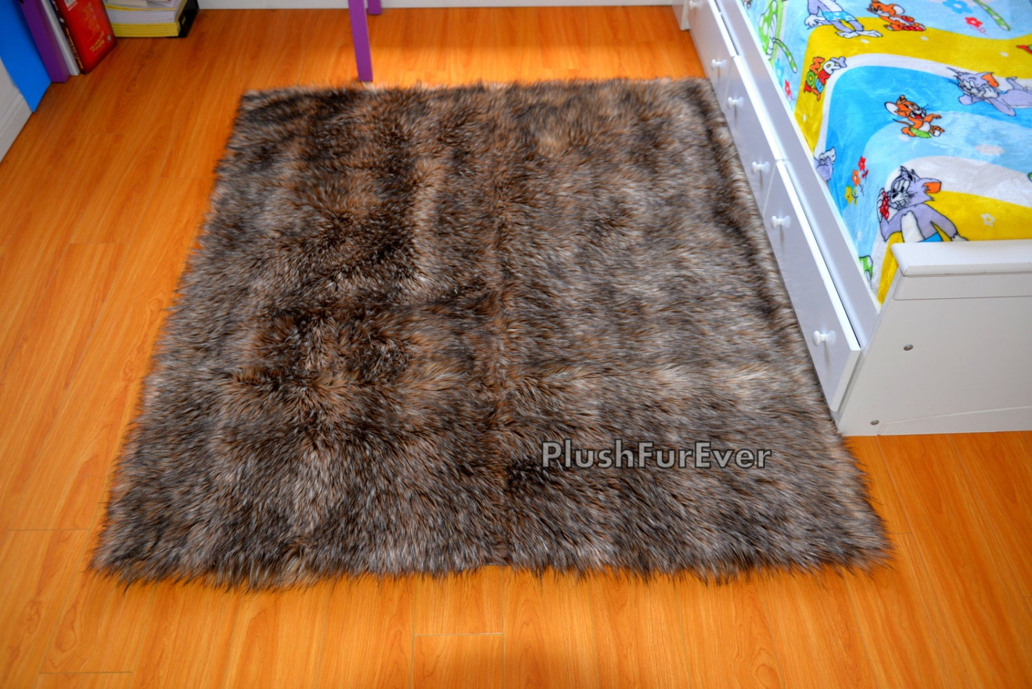 brown mountain coyote faux fur rug rectangle shape area