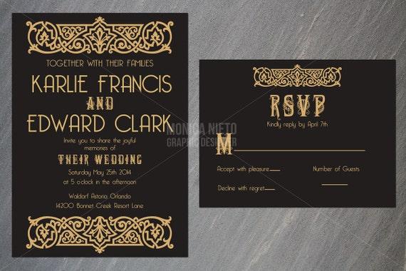 Graphic Design Wedding Invitations: Printable Art Deco Inspired Wedding Invitation By Monica