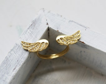 Gold Angel Wings Ring - 14K Solid Gold,White Zircons,Yellow Gold, Large angel wings design