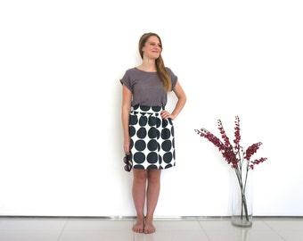 Geometric skirt, monochrome skirt, bold geometric print skirt, quirky skirt, circle themed skirt, quirky officewear, fall fashion