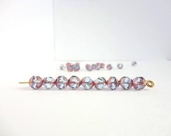 10 x 9mm Czech Glass Beads, Blue Purple Gold Central Cut Czech Glass Beads, Blue Gold Glass Beads CTC0001