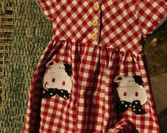 Child's Vintage Dress. 1970s Unique Vintage Childs Buster Brown Dress Vintage Made in the USA