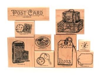 Travel Post Vintage Images Rubber Stamps, Vintage Travel, Camera Bellows Stamp, Leather Suitcase, Luggage Tag Postcard Stamp, Stampin Up Set