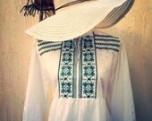 Vintage boho white and green dress - vintage sun dress- vintage white beach cover - vintage dress-pool party-beach party-