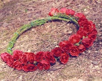 red rose wedding flower crown, bridal veil, rose flower crown, headband, hair accessories, hand made