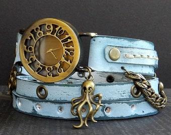 Ocean Blue Wrap Watch with Octopus charm, Womens leather watch, Bracelet Watch, Chain Wrist Watch, Distressed Fashion Watch