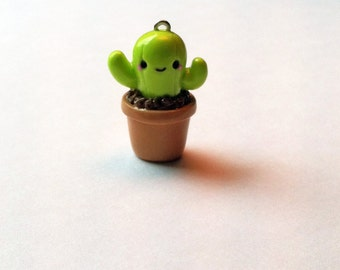 Cactus Charm, Potted Cactus Charm, Polymer Clay Charms, Bag Charms, Plugs, Charms, Pluggy, Planner Charm, kikki k, filofax, planner