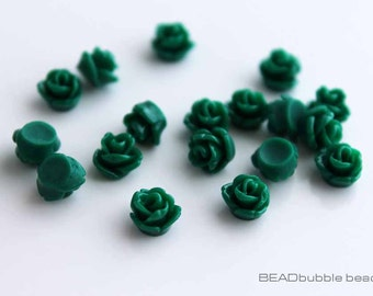 7.5mm Tiny Green Resin Rose Flower Flat Back Glue On Cabochons Pack of 20 (CAB307)