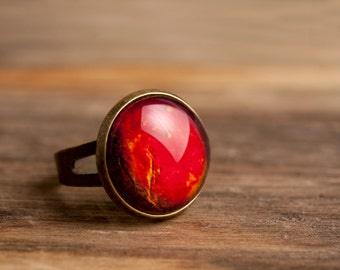 Planet Venus ring, adjustable ring, statement ring, antique brass ring, glass ring, antique bronze / silver plated ring base, galaxy ring