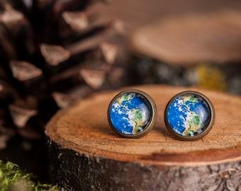 Tiny planet Earth earrings, planet Earth stud earrings, antique brass earrings, gun metal studs, post earrings, stud earrings, green stud