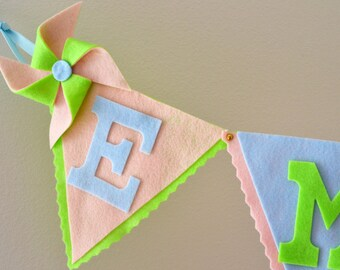 Large Felt Bunting with Pinwheel Banner /  Baby Name Banner / Birthday Baby Shower Decor / Other Colors Available / Custom Party Bunting