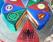 SUPER HEROS 8 boites gâteaux en papier - téléchargeable instantannément - anniversaire Batman Superman Ironman Flash Green Lantern Spiderman