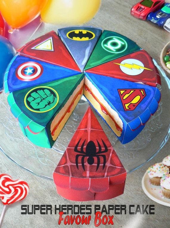 super heros 8 boites gâteaux en papier téléchargeable