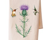 Organic Cotton Thistle Hummingbird Teatowel