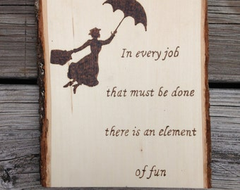 Wood Burned Mary Poppins Wall Hanging