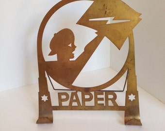 Hotel Lobby Newspaper Rack from the 1930s with Original Copper Finish and Patina