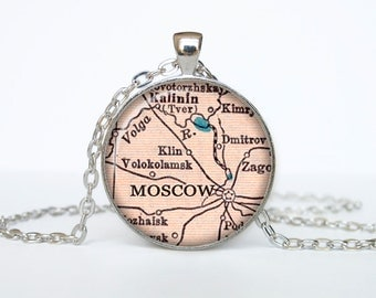 Moscow map pendant, Moscow map necklace, Moscow map jewelry, Moscow Russia