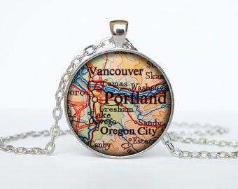 Portland map pendant, Portland map necklace,Portland map jewelry, Portland Oregon