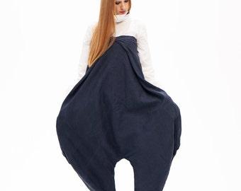 Women's Jumpsuit, Women's Harem Pants, Maxi Pants, Drop Crotch Pants, Women's Pants, Dark Gray Pants, Wide Leg Trousers, Oversize Pants