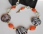 Orange Necklace, Statement Necklace, Animal Print Necklace, Unique Necklace, Beaded Necklace, Handmade Necklace, Zebra Print Necklace