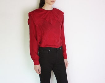 80's silk buttoned back longsleeve blouse with geometric collar, red silk shirt