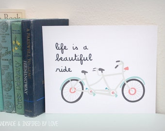 Life is a Beautiful Ride, Art, Print, 8x10, Home Decor, Picture, Inspirational, INSTANT DOWNLOAD