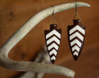 Chevron Bone Dangle Earrings