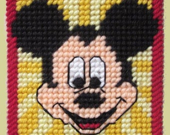 MICKEY MOUSE - Boutique Size Tissue Box Cover - Needlepoint on Plastic Canvas