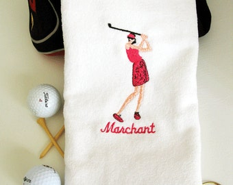 "Ladies Golf Gift - Personalized Golf Towel - Golf Towel ""Swinger"" on White towel # golf 007W"