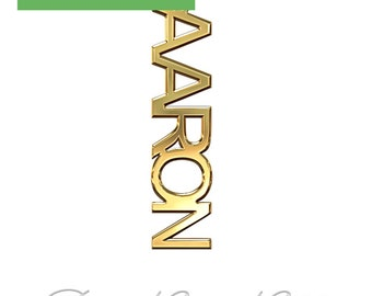"""14k Yellow Gold Vertical Name Necklace (0.4mm thick) - """"Aaron"""" design"""